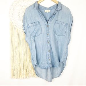 CLOTH & STONE Chambray Button Down Sleeveless Top